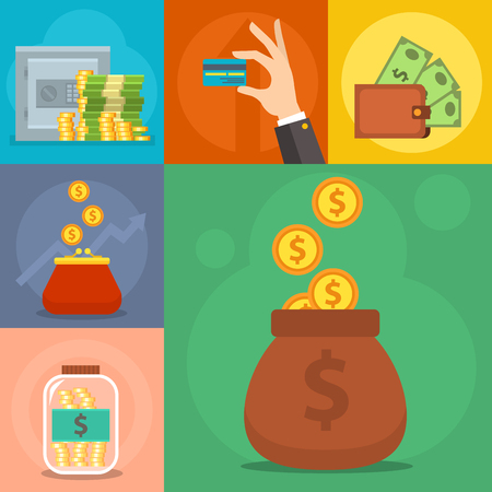 Money commercial group payment investment bag graphic finance safepay earning cash wallet.