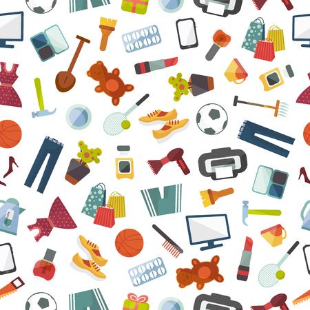 Online de winkelkleren en goederen die van de opslagwinkel vector naadloze patroonillustratie als achtergrond winkelen.