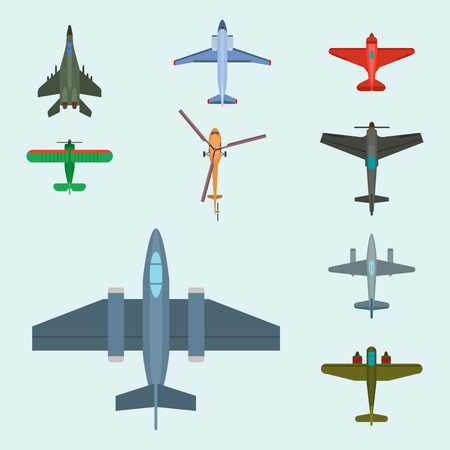 Airplane illustration top view and aircraft transportation travel way design journey object.