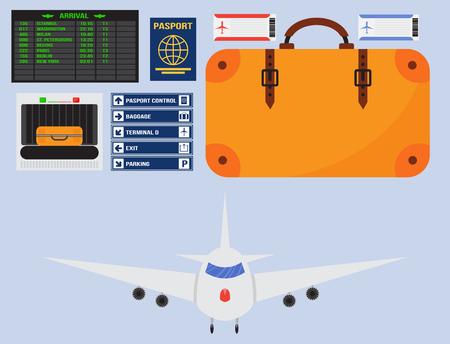 Aviation icon set airline graphic airplane airport transportation fly travel symbol illustration. 向量圖像