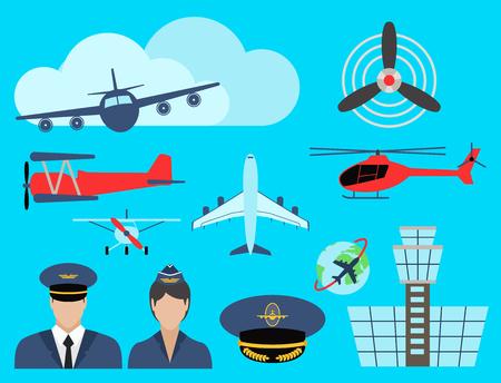 Aviation icons set airline station airport symbols departure terminal plane stewardess tourism illustration. Illustration