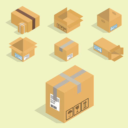Different box isometric icons isolated pack move service or gift container packaging illustration