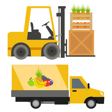 Trucks loader shipping cars vehicles cargo transportation by road delivery vehicle rail with forklifts illustration.