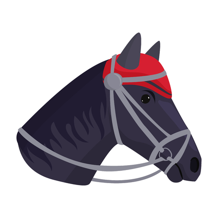 Horse pony head stallion isolated color farm equestrian animal character illustration. Illustration