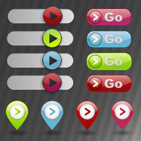 UI interface play media internet website element online player mark click illustration. Ilustrace