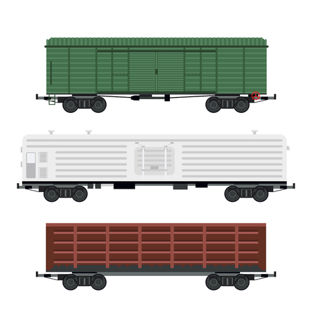 Treinwagons autospoor zonder striping reizen spoorlijn passagier locomotief wagentransport. Stock Illustratie