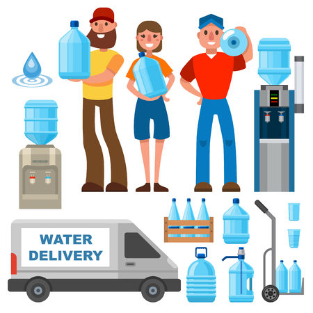 Water delivery service man character in uniform and different water bottle elements. Stok Fotoğraf - 87851869