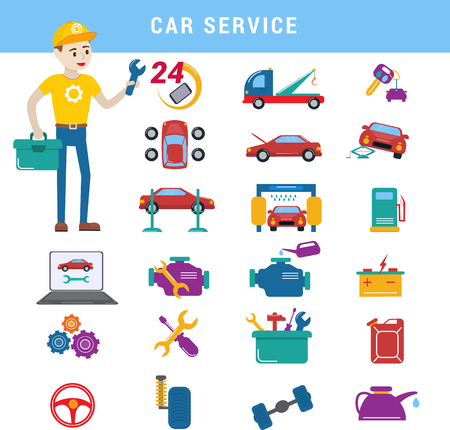Car service repair parts and serviceman boy icons vehicle and automobile equipment.