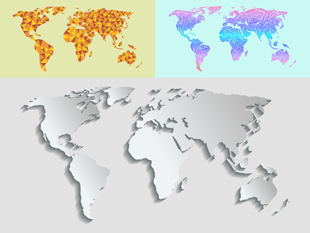 Maps globe Earth contour outline silhouette world mapping cartography texture illustration.
