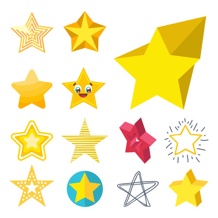 Different style shape silhouette shiny star icons collection illustration.