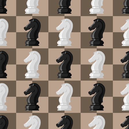 Chess board pattern chessmen vector leisure concept knight group white and black piece competition.