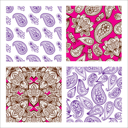 Set of Mehndi flowers pattern.