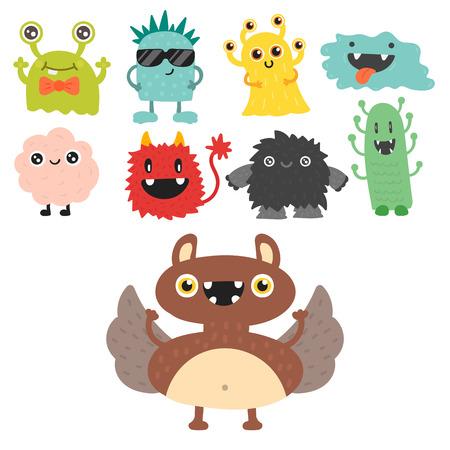 Set of cartoon monsters icon.