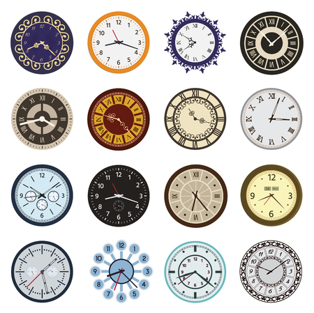 Clock faces different design circle and arrows numbers index watch clockwise arrows numbers dial-face vector illustration. 版權商用圖片 - 87875251