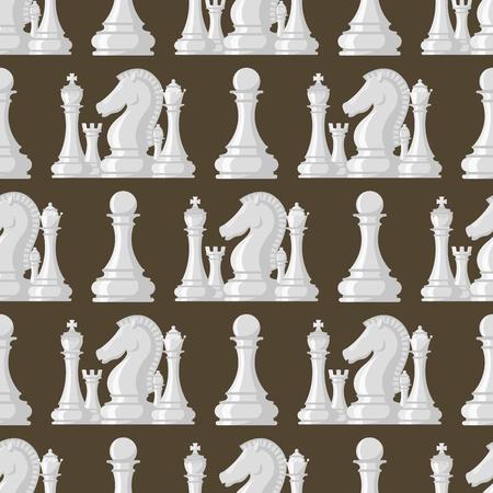 チェス ボードのシームレスなパターン背景の駒ベクトル レジャー概念の騎士グループ白と黒のピースの競争