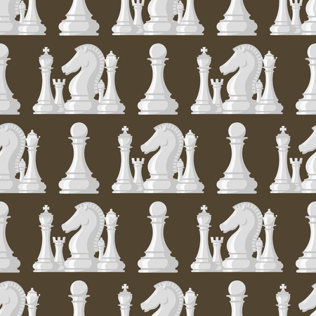 Chess board seamless pattern background chessmen vector leisure concept knight group white and black piece competition