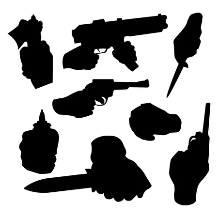 Hand firing with gun black silhouette protection ammunition. Business startup concept criminal dangerous armed clip violence special revolver. Crime military police firearm hands vector. Illustration