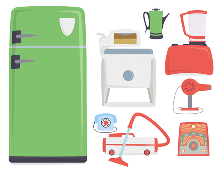 Retro vintage household appliances kitchenware antique technology utensil vector illustration.