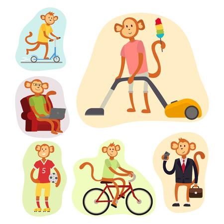 Monkey cartoon suit person costume character chimpanzee happiness man flat vector illustration Illustration