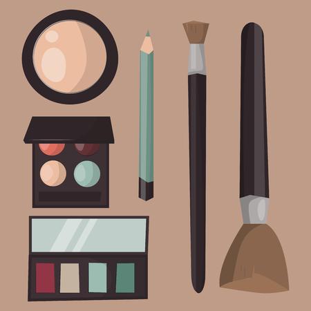 メイクアップアイコン香水マスカラケアブラシと櫛は、アイシャドウグラマー女性のアクセサリーに直面しました。ベクトルセット美容ファッショ
