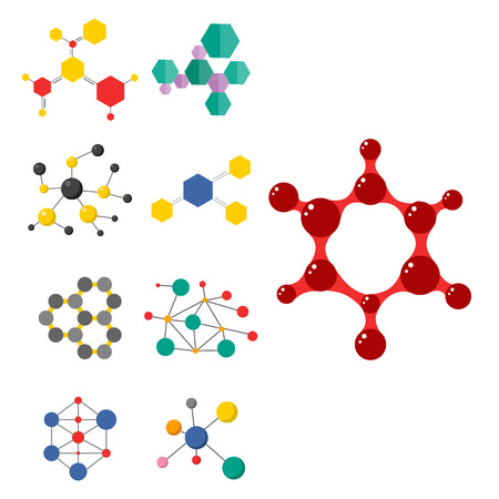 Set of colorful molecular structures in the form of sphere. Chemical structure microscopic technology, web design, geometric molecule. Organic element evolution physics vector. Illustration