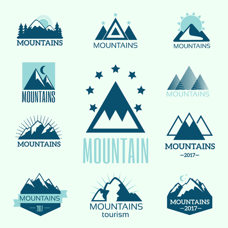 Vector set of mountain exploration vintage emblems and rock silhouette design elements