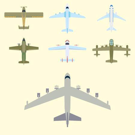ベクトル飛行機図平面図と航空機輸送方法デザイン旅オブジェクトを旅行します。  イラスト・ベクター素材