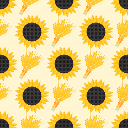 Rye wheat harvest vector seamless pattern ears of golden sunflower beautiful nature rural background
