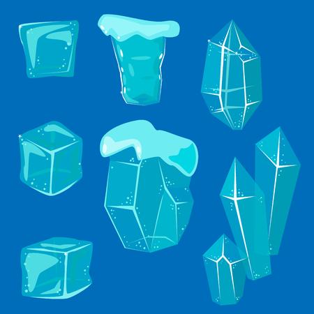 Realistische ijskappen sneeuwbanken en ijspegels gebroken stuk bit forfaitaire koude bevroren blok crystal winter decor vector illustratie