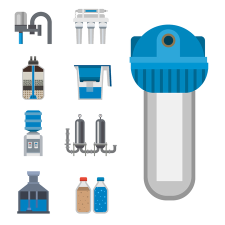 Water purification icon faucet fresh recycle pump astewater treatment collection vector illustration.