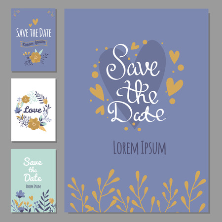 Wedding invitation card suite with flower templates day handmade lettering print layout design vector illustration