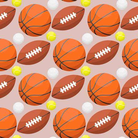 Basketball ball activity leisure sport seamless pattern background team game orange rubber athletic equipment. vector illustration.