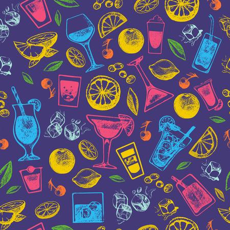 Cocktails alcoolisés collection de style vintage dessinés à la main et partie alcoolique douce tequila vector illustration sans soudure de fond Banque d'images - 87916825