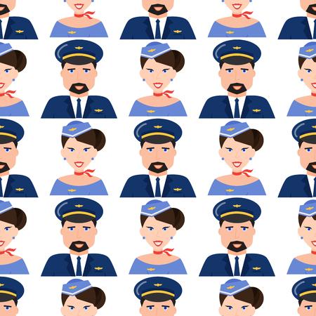 Pilot and stewardess  seamless pattern background vector illustration. Çizim