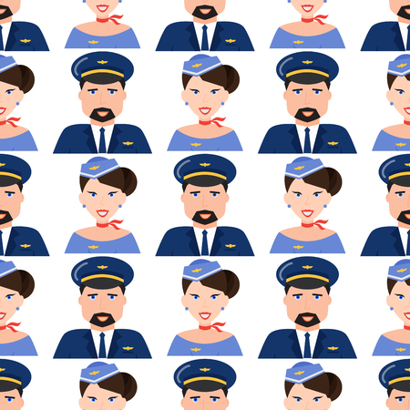 Pilot and stewardess  seamless pattern background vector illustration. Illustration