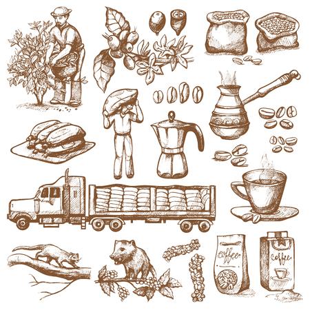 Plantación de la producción del café - el granjero que escoge habas en el árbol y el dibujo de la vendimia beben el ejemplo retro del postre del bosquejo de la colección del café.