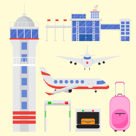 Aviation icons vector set airline graphic airplane airport transportation fly travel symbol illustration. Air transport boarding cargo departure.