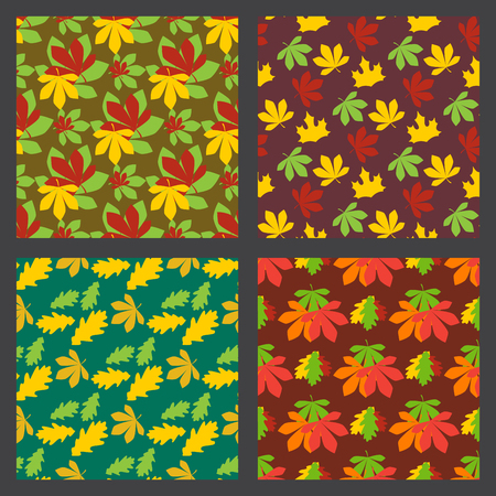 Seamless pattern texture of maple leaves autumn background natural october season decoration vector illustration. Fall seasonal foliage orange backdrop.
