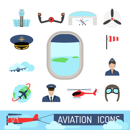 Aviation icons vector set airline graphic illustration station stewardess concept airport symbols departure terminal plane. Transport business flight tourism vector. Ilustração