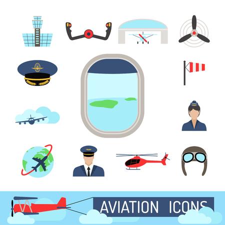 Aviation icons vector set airline graphic illustration station stewardess concept airport symbols departure terminal plane. Transport business flight tourism vector. Illustration