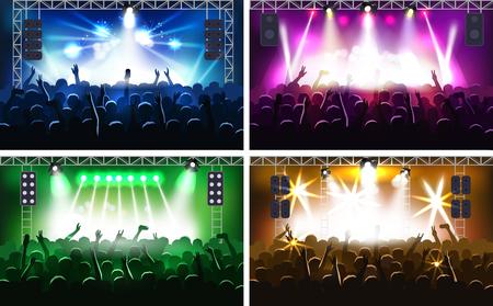 Festa di musica o concerto scena fase di scena con le luci fanzone illustrazione vettoriale partito umano mani silhouette
