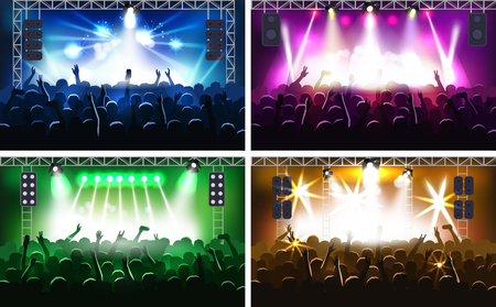 Music festival or concert streaming stage scene with lights fanzone vector illustration party human hands silhouette