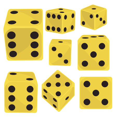 Isometric dice number lucky game fortune casino variants loss gamble cube vector illustration. Фото со стока - 87921089