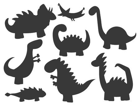 Cartoon dinosaurussen vector illustratie monster silhouet dierlijk dino voorhistorisch karakter reptiel roofdier jurassic fantasie draak Stock Illustratie