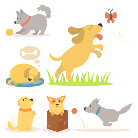 Vector illustration cute playing dogs characters funny purebred puppy comic happy mammal breed