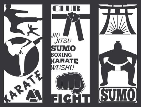 Set of cool fighting club brochure fight cards punch sport fist karate vector illustration. Иллюстрация
