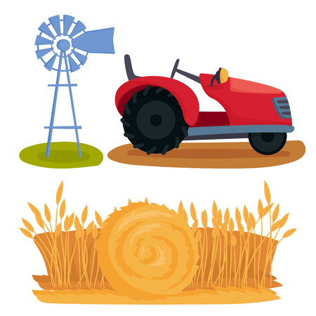 Farm vector illustration nature agronomy equipment harvesting grain agriculture growth cultivated design.