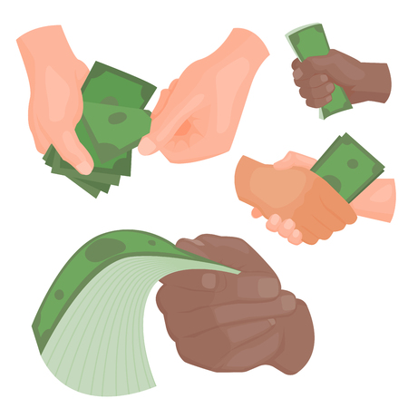 Human hands holding money vector illustration businessman financial rich people body part