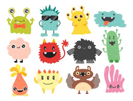 Grappig cartoon monster schattig vreemd karakter schepsel gelukkig illustratie duivel kleurrijke dierlijke vector. Stock Illustratie