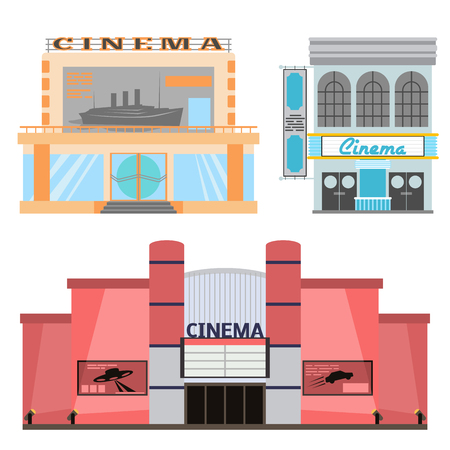 Cinema building vector illustration facade movie entertainment city house architecture theater exterior.